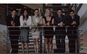 group of business people standing by stairway